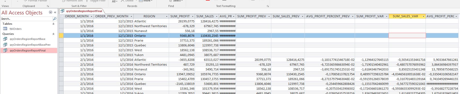 How To Create A Report in Access (using SQL)